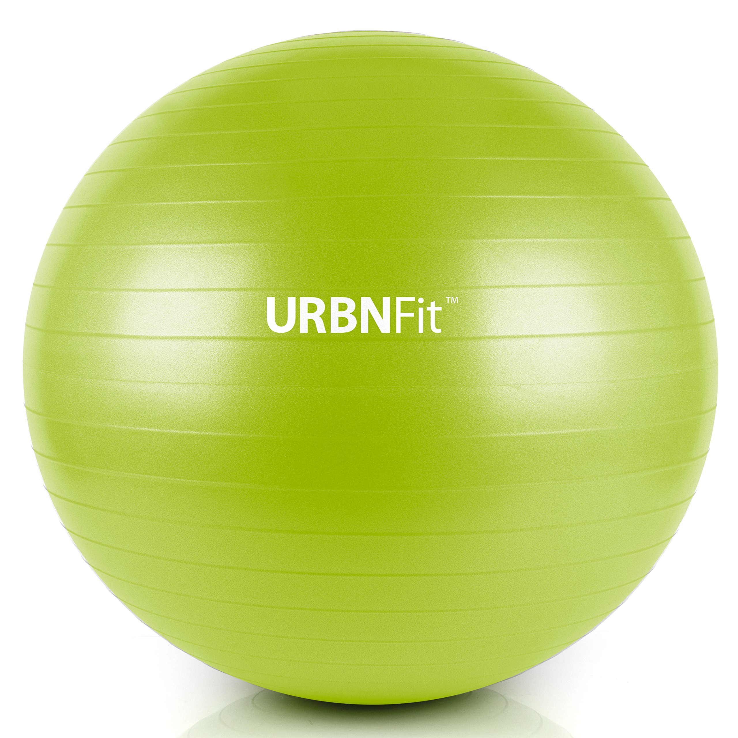 URBNFit Exercise Ball (Multiple Sizes) for Fitness, Stability, Balance & Yoga - Workout Guide & Quick Pump Included - Anit Burst Professional Quality Design (Green, 55CM) by URBNFit (Image #1)