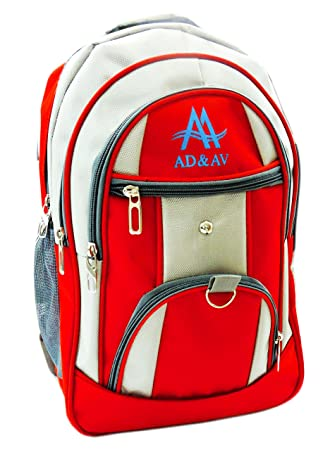 AD & AV Polyester 30 Ltr Red & Grey School Bag