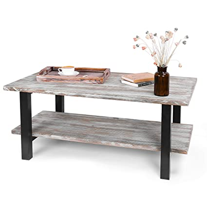 MyGift 42 Inch Torched Wood Industrial Coffee Table With Storage Shelf