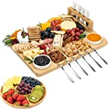 SMIRLY Cheese Board and Knife Set - Charcuterie Board Set, Cheese Platter Board, Bamboo Cheese Board with Cutlery Set, Cheese