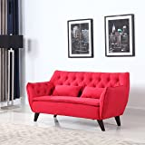 Mid Century Modern Tufted Linen Fabric Loveseat (Red)