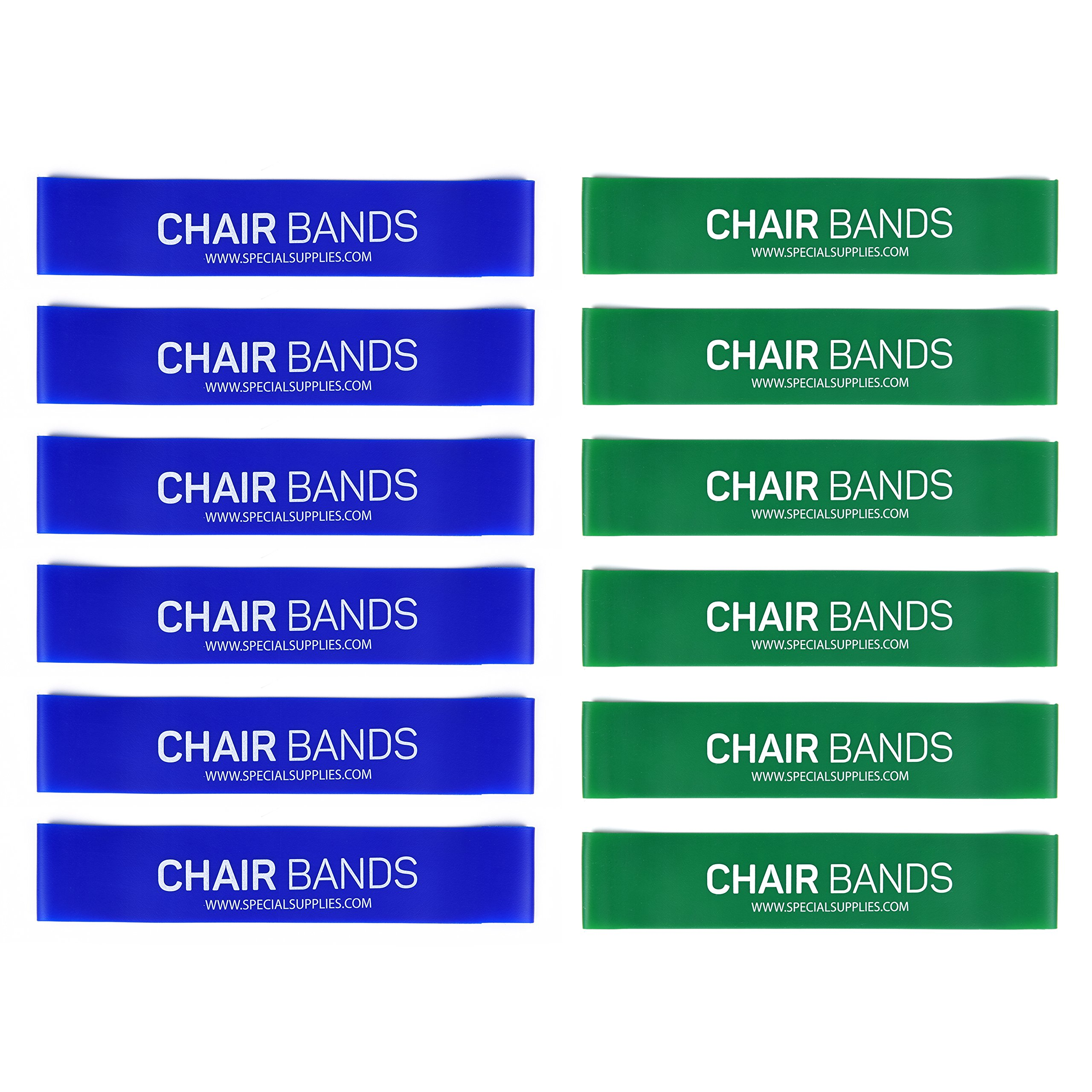 Special Supplies Kid's Rubber Bouncy Chair Bands (12-Pack) Promotes Calming Focus, Fidget & Stress Relief | Supports Sensory Needs for ADHD, ADD, SPD, Autism | Fits Classroom Desks