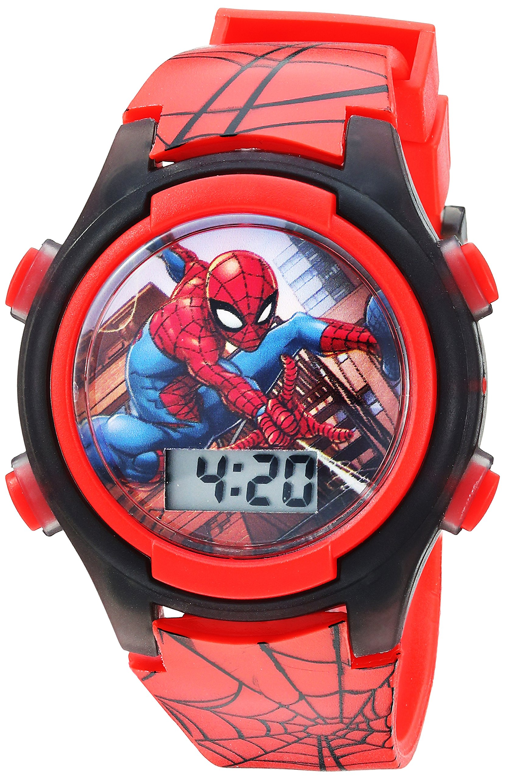Marvel Boys' Quartz Watch with Plastic Strap, red, 16 (Model: SPD3515A) by Marvel