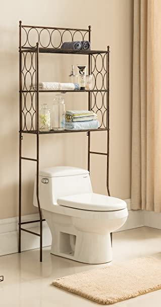 kings brand free standing over the toilet shelf bathroom organizer - Over The Toilet Bathroom Organizers
