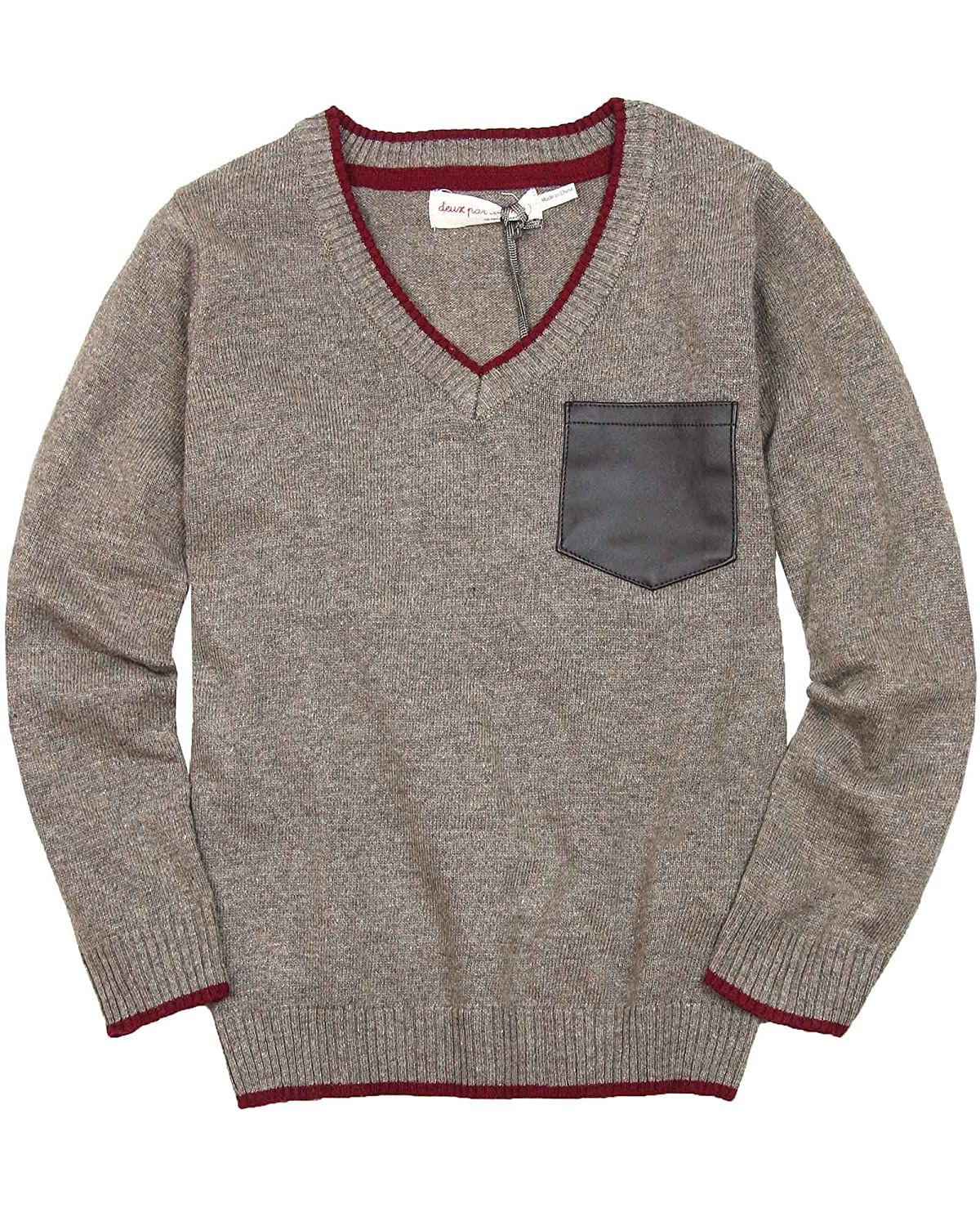 Deux par Deux Boys' Taupe Sweater Maestro!, Sizes 18M-12