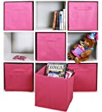 Adorn Home Essentials Dual Handle Foldable Cloth Storage Cube| Basket, Bins,Containers and Drawer Organizer| 6- Pack - Pink