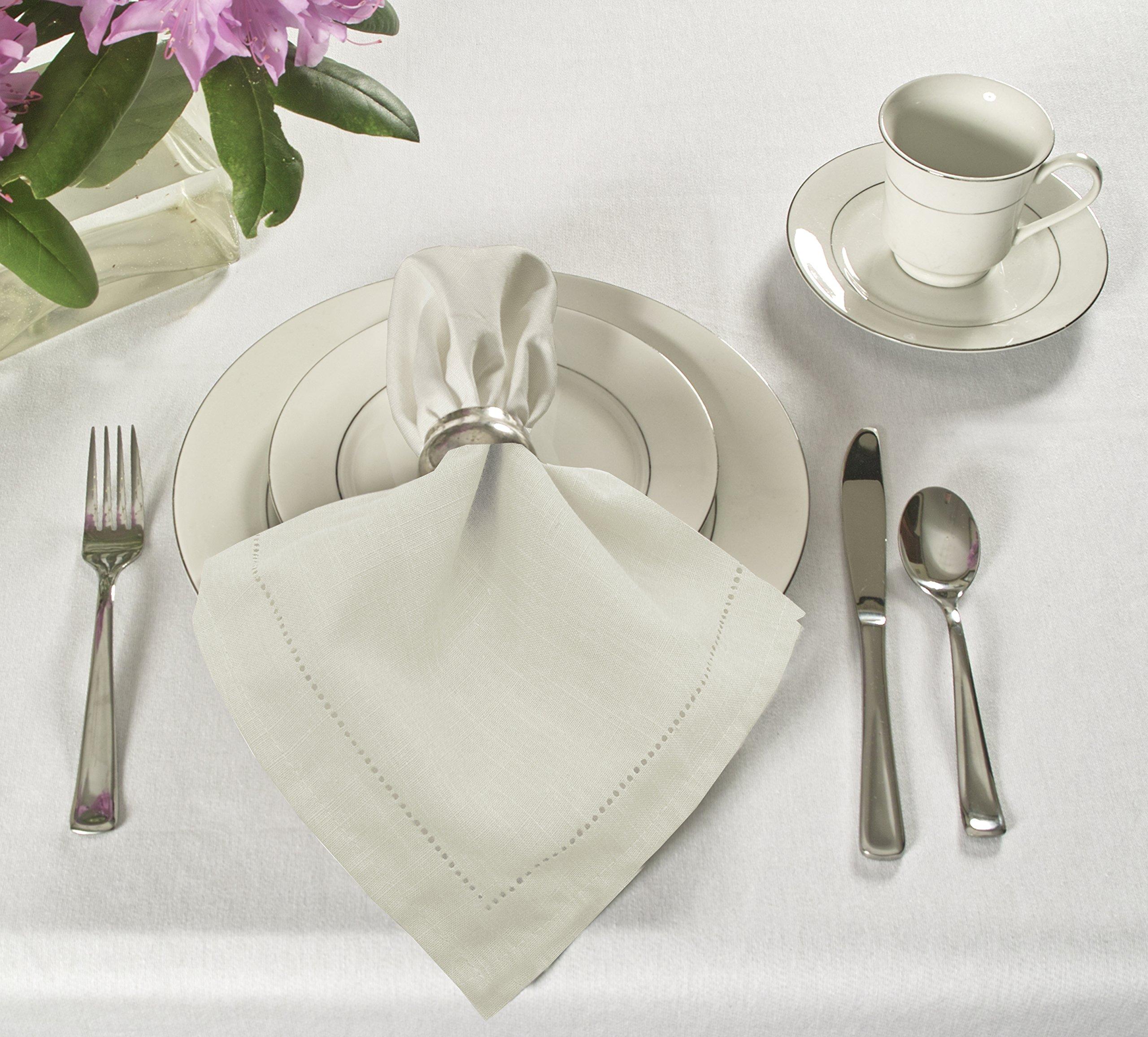 Elrene Home Fashions 026865885415 Solid Hemstitch Restaurant & Hotel Napkin, Set of 24, 18'' x 18'', Ivory