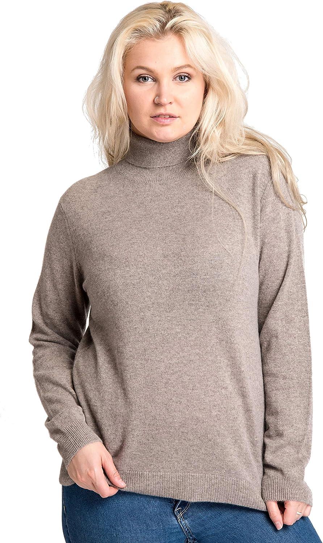 cashmere 4 U 100% Cashmere Turtleneck Plus Size Top Sweater for Curvy Woman