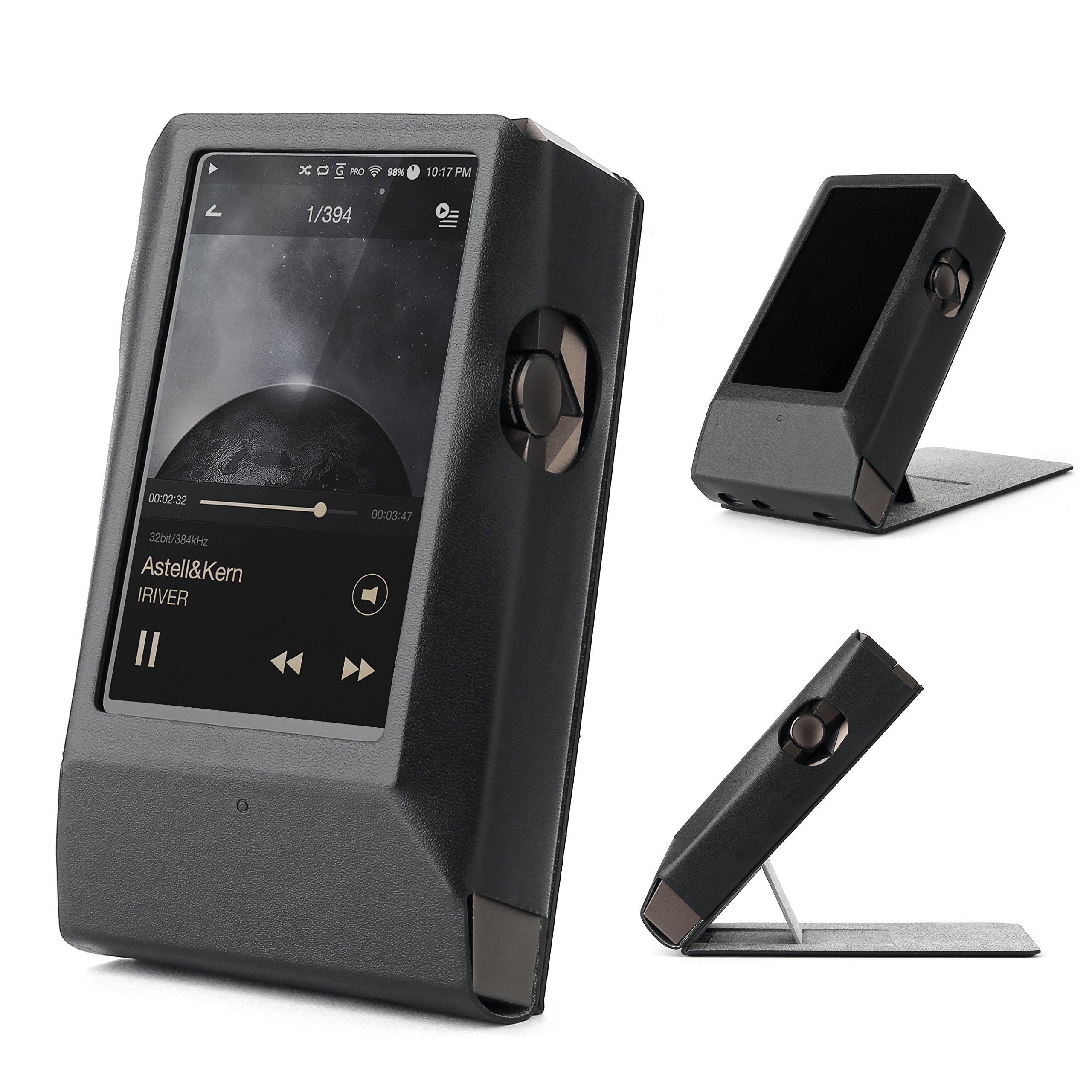 Astell&Kern AK380 AMP Hand Crafted MITER Leather Case Cover [Patented Stand Case] astell&Kern Leather case ak380 amp case (Black)