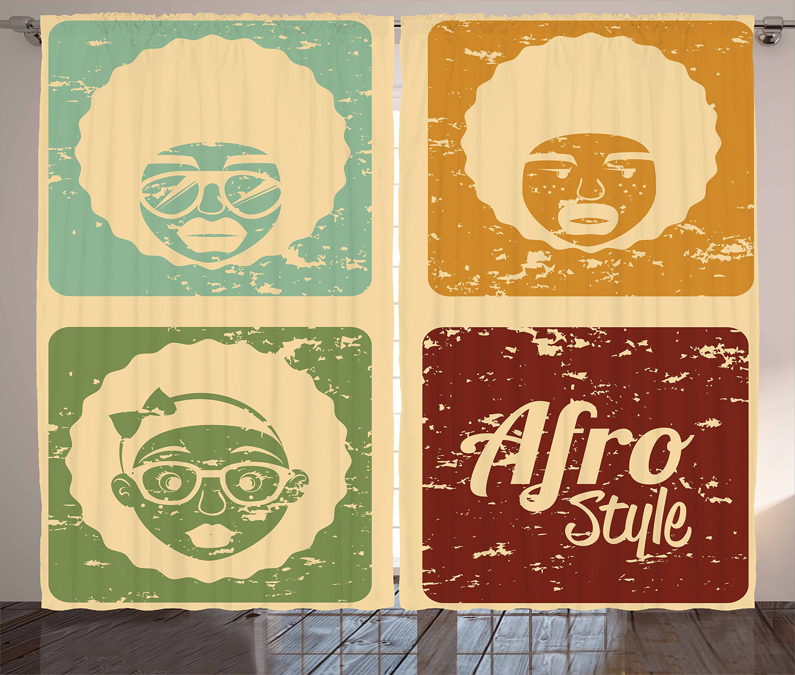 Afro Curtains by Lunarable, Pop Art Style Disco Themed Arrangement Retro Dance Fever African American Culture, Living Room Bedroom Window Drapes 2 Panel Set, 108 W X 63 L Inches, Multicolor