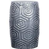 Daze Ceramic Garden Stool,Gray,Fully Assembled