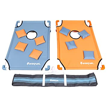 Harvil Portable PVC Framed Cornhole Set With 8 Double Lined Bean Bags And  Carrying Case