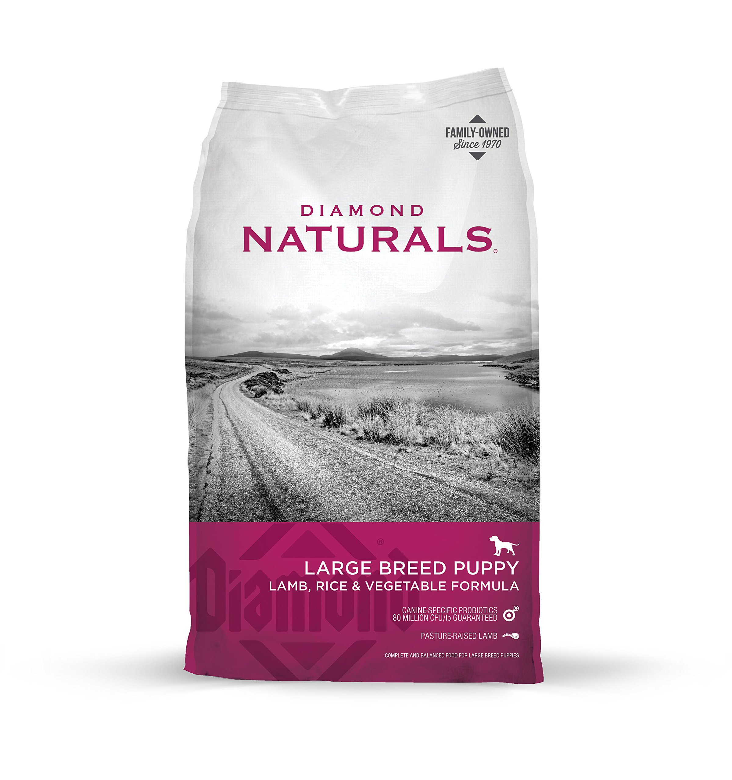 Diamond Naturals Large Breed Puppy Real Meat Recipe Premium Dry Dog Food with Real Pasture Raised Lamb  40lb