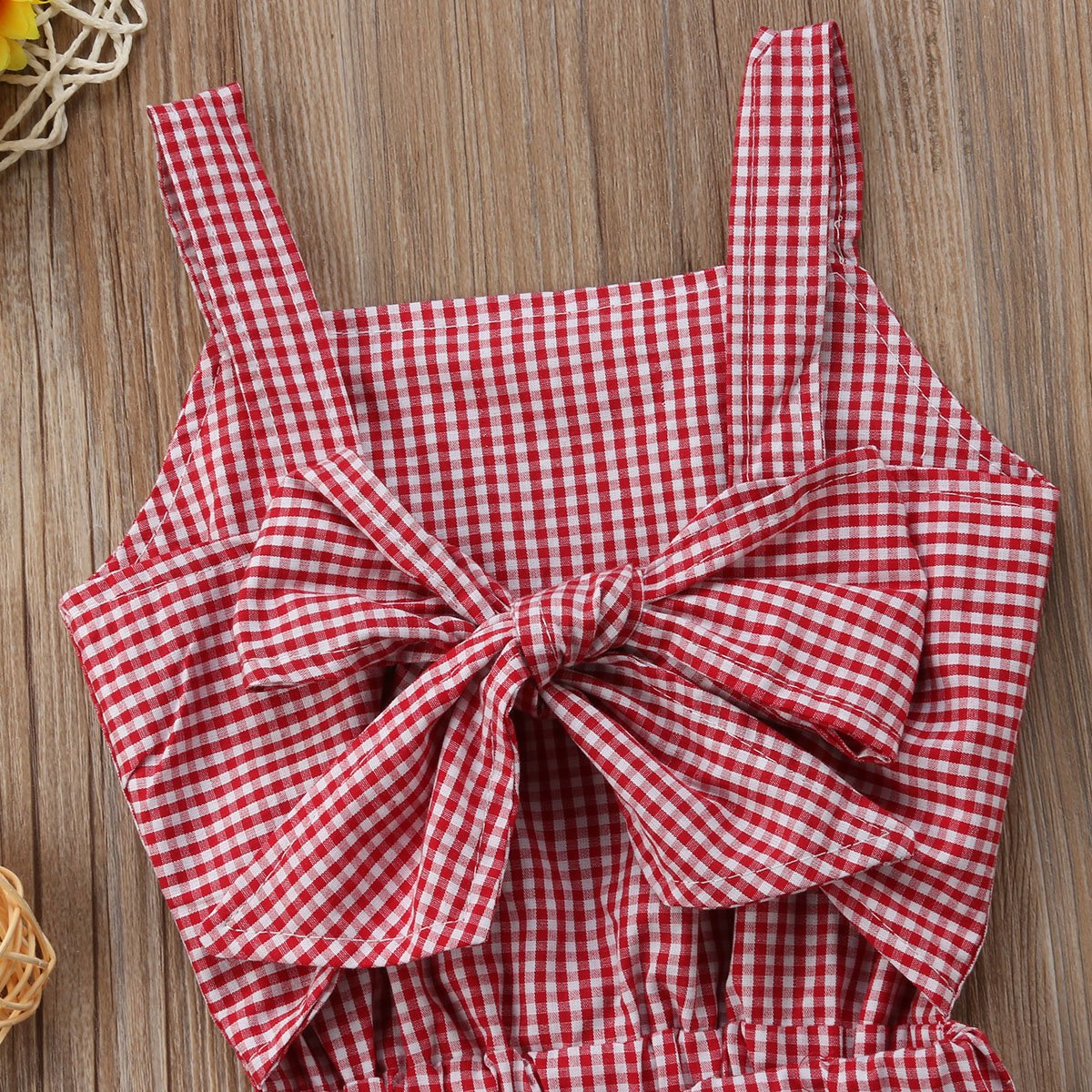 Kids Toddler Baby Girl Red Plaid Big Bow Sleeveless Romper Jumpsuit Trousers Clothes Outfits
