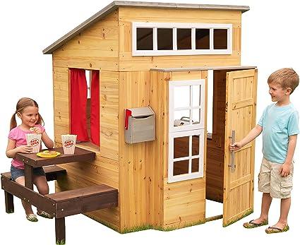 KidKraft- Casa de jardín moderna de madera para niños, incluye ...
