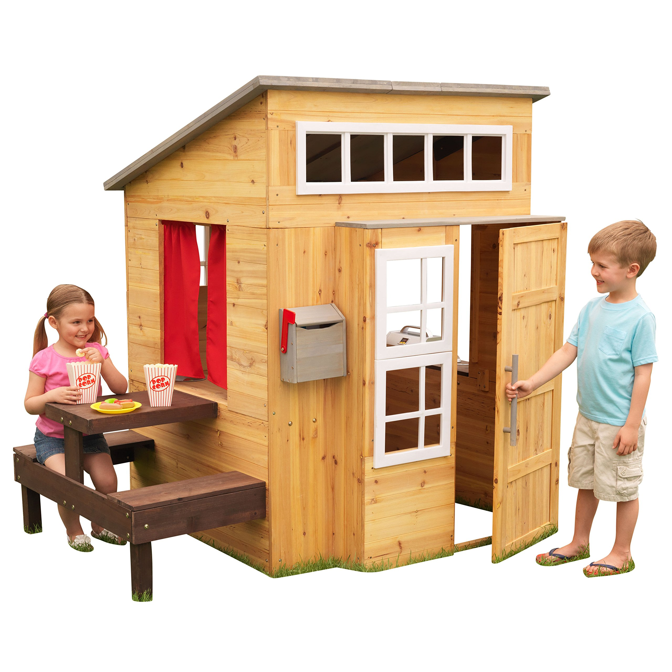 KidKraft Modern Outdoor Wooden Playhouse with Picnic Table, Mailbox and Outdoor Grill by KidKraft