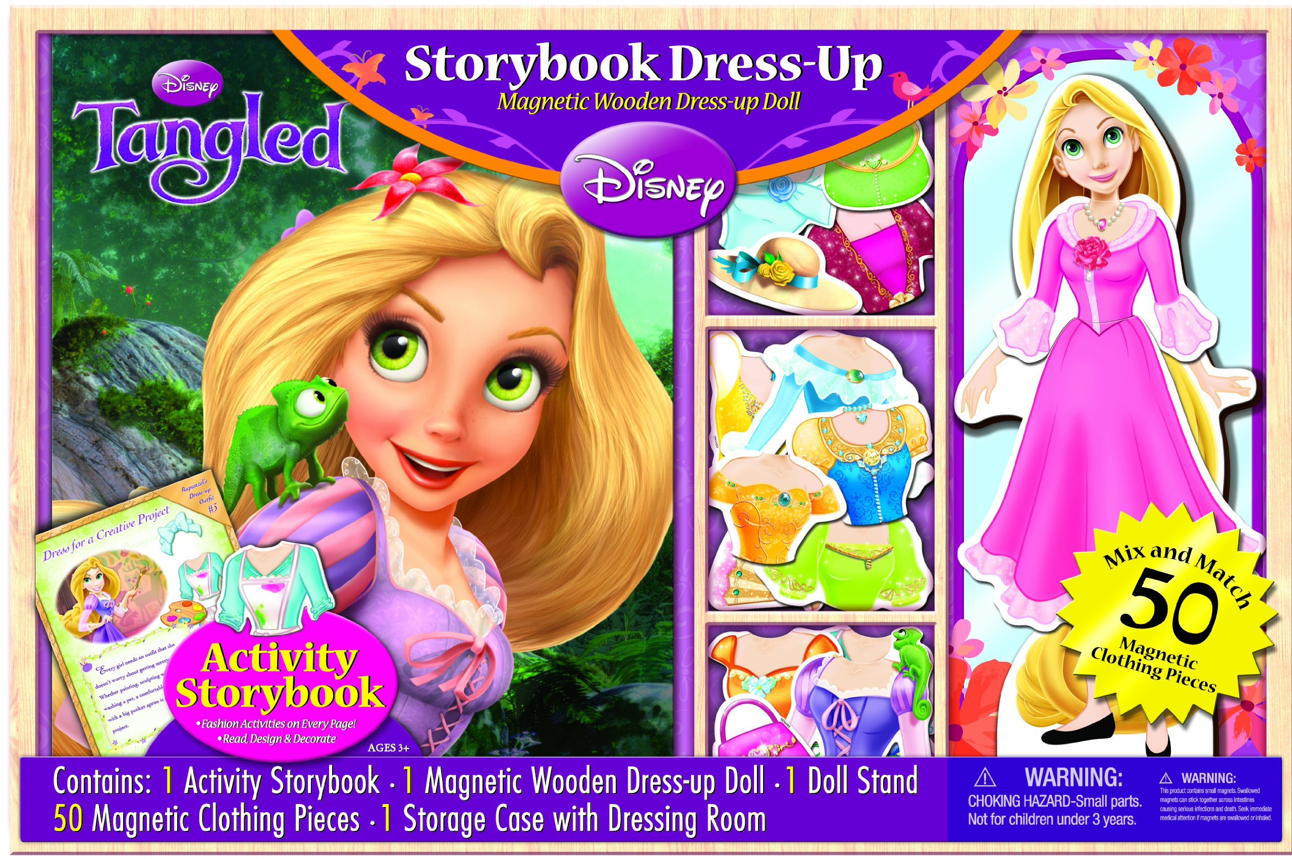 Bendon Disney Tangled Storybook Dress Up Magnetic Wooden Doll Set, 50-Piece