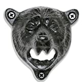 Grizzly Bear Wall Mount Beer Bottle Cap Openers | Durable Cast Iron and Black Vintage Finish