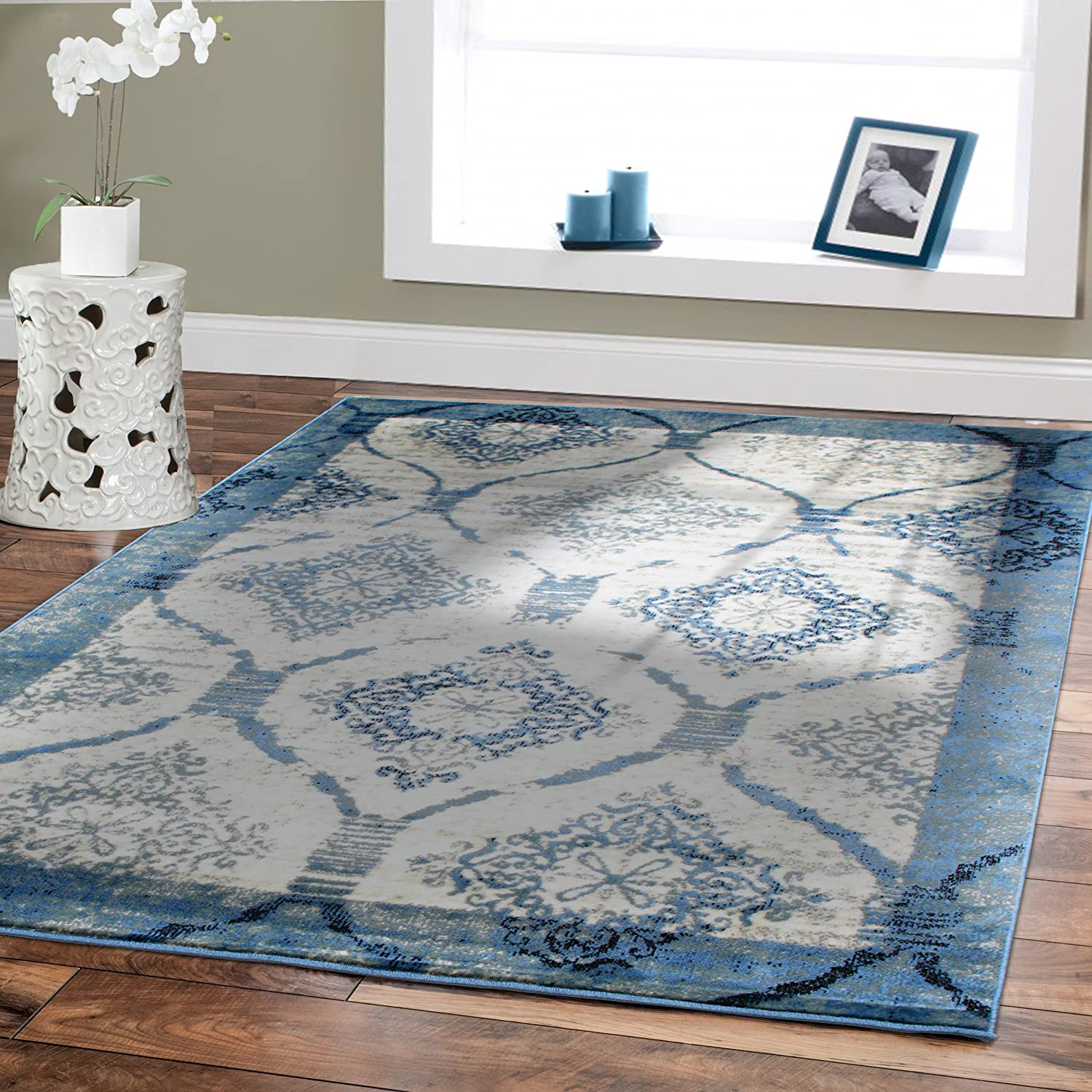 Amazon.com: Contemporary Rugs For Living Room 5x8 Blue Area Rug Modern Rugs  For Dining Room Blue Black Cream Greys Modern Rugs 5x7 Bedroom Carpet:  Kitchen U0026 ...
