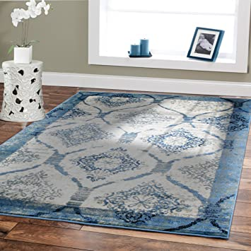 Amazon.com: Contemporary Rugs For Living Room 5x8 Blue Area Rug ...