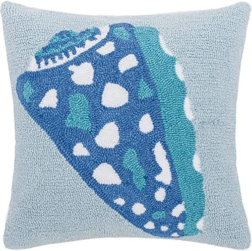 C F Home Shell Hooked Pillow 18 x 18 Blue