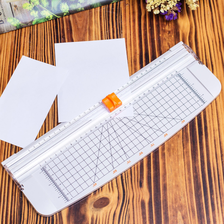 Firbon Taglierina per Carta A4 o A3 Per Carta Artigianale bianco Titanium Scrapbooking 12 Pollici Righello con Sicurezza Automatica Protezione Ghigliottina Etichetta e Foto