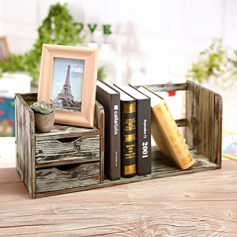 MyGift Distressed Torched Wood Desktop Bookshelf Organizer With 2 Storage Drawers