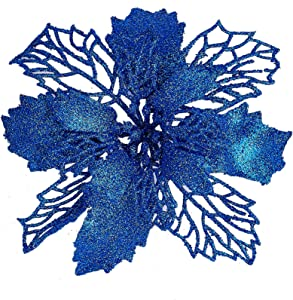 """Zhenrui 12 pcs 6""""Christmas Poinsettia Flower, Glitter Poinsettia Tree Ornaments, Royal Blue Artificial Flower Decorating Wreath Garland, Great for Wedding Holiday and Home Decor, with Stems"""