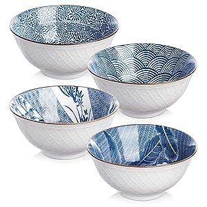 Y YHY Ceramic 24oz Cereal/Soup/Pasta Bowls, Deep Salad Bowl Set, Assorted Blue White Patterns, Set of 4