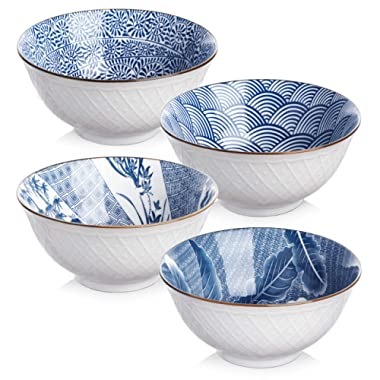 Y YHY Ceramic 24 Ounces Cereal or Soup Bowls, Bowl Set for Salad and Pasta, Assorted Blue White Patterns, Set of 4