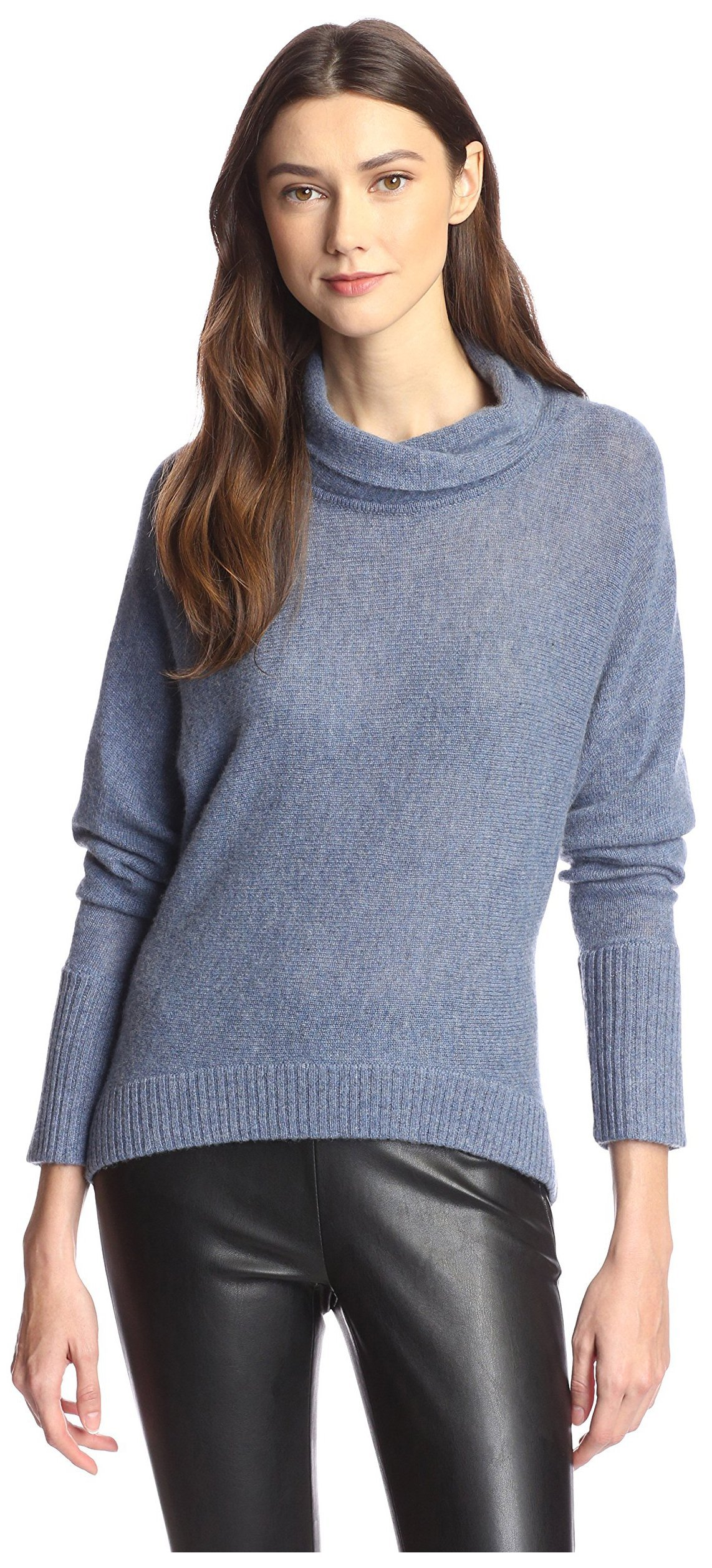 James & Erin Women's Cowl T-Neck Cashmere Sweater, Soft Denim, XL