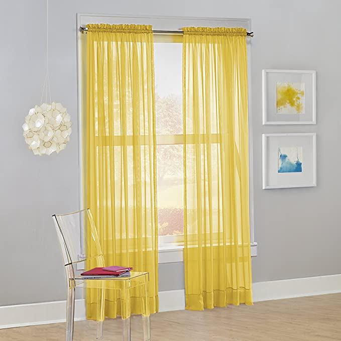 No 918 Calypso Sheer Voile Rod Pocket Curtain Panel 59 X 84 Lemon 1 Panel Home Kitchen