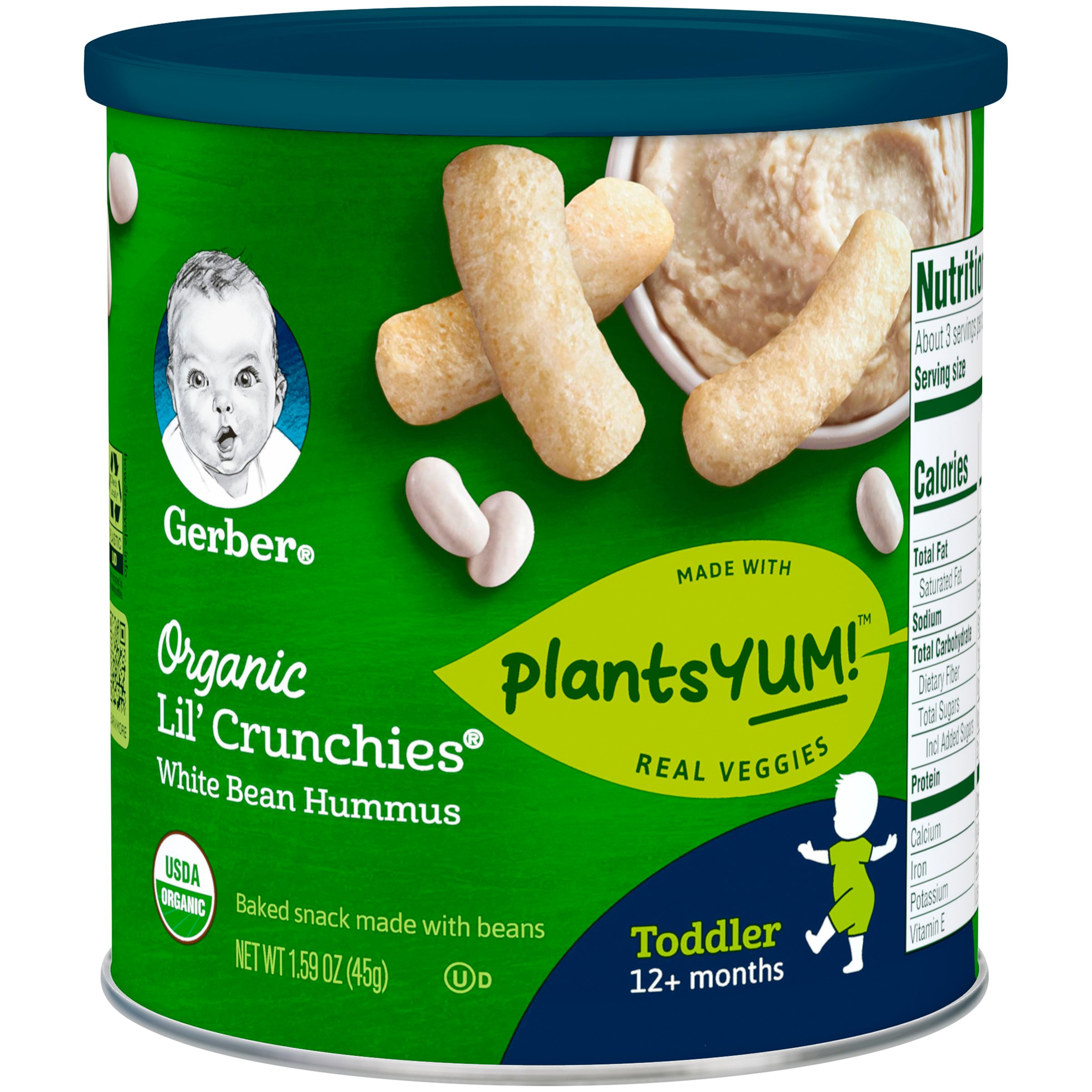 Gerber Organic Lil' Crunchies Baked Corn Snack White Bean Hummus (Pack of 6) by GERBER
