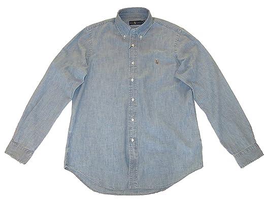 e72900a59ce5 RALPH LAUREN Polo Mens Denim Button-Down Oxford Shirt Chambray (Medium)