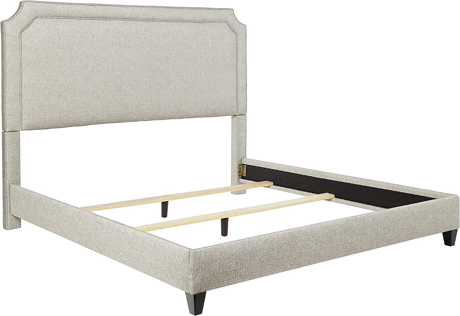 Leffler Home Midori Manor Belgrave Upholstered Bed with Rails and Footboard, King, Black and White
