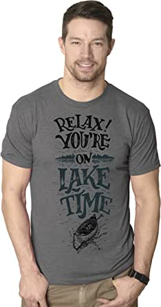 Mens Relax Youre On Lake Time Funny Camping Nature T shirt