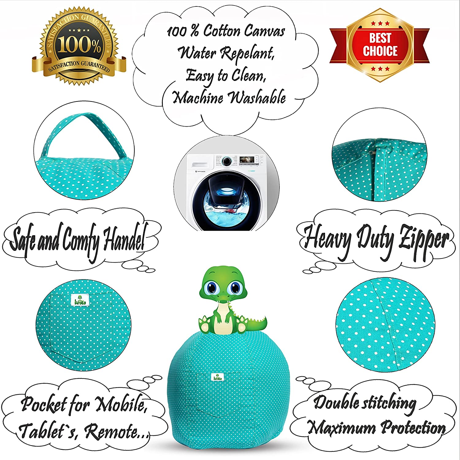 Stuffie Toy Storage Bean Bag Covers for Toddler /& Teen Stuff Toys Organizer Seat Holder for Girls /& Boys Original Bag Extra Large -Teal Kroco Stuffed Animal Storage Bean Bag Chair for Kids Room