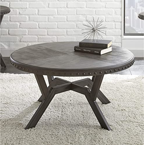 Greyson Living Avilla Grey Wood/Metal 36-inch Round Industrial Coffee Table