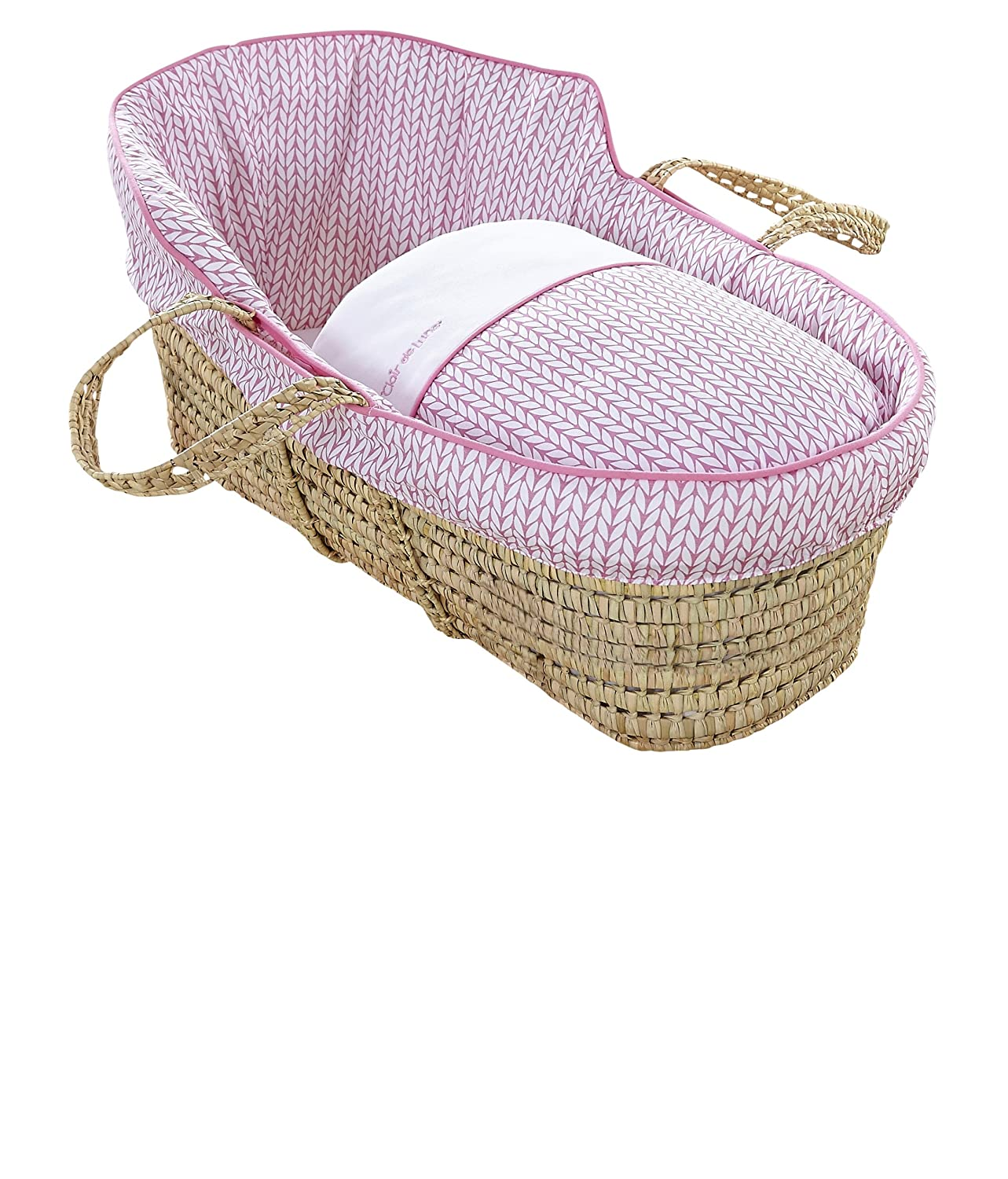 Clair de Lune Barley Bébé High Top Palm Moses Basket (Blue) CL5773BE