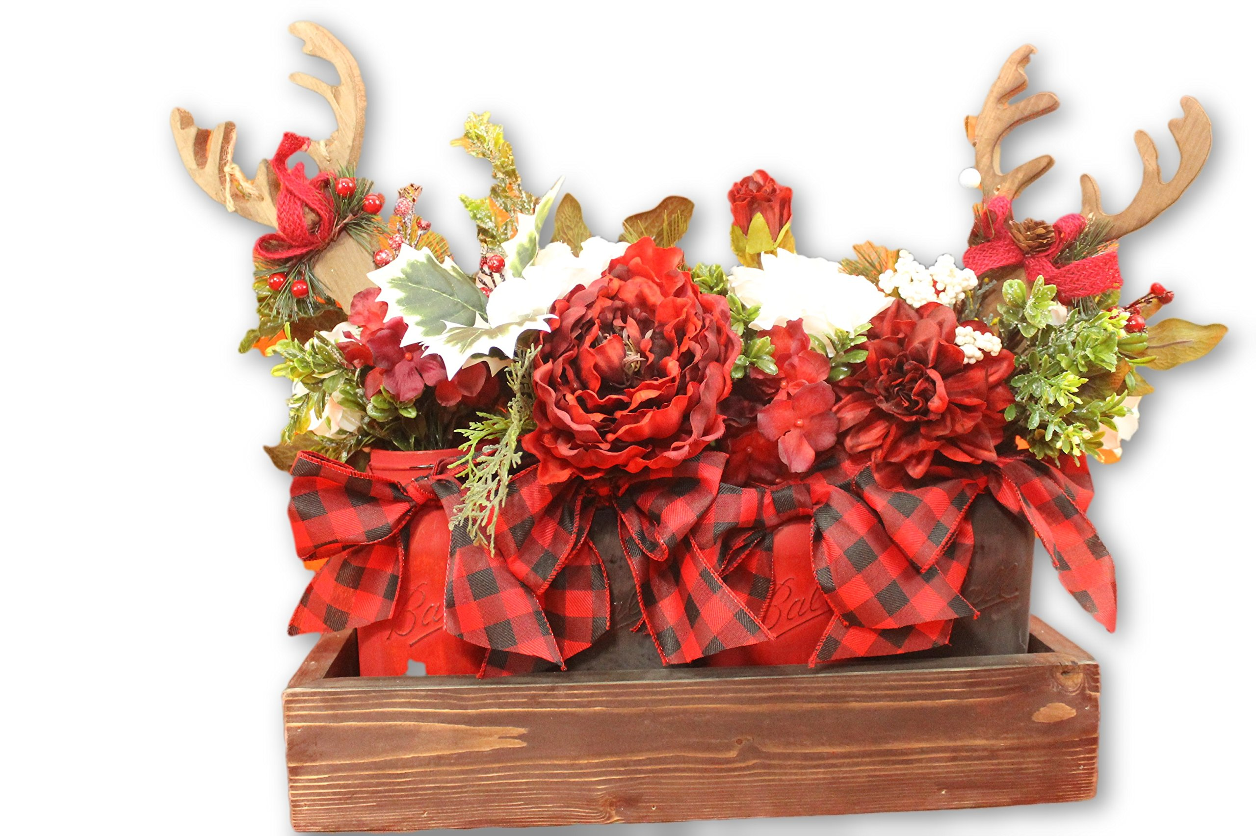 Christmas Red and Black Buffalo Check Quart Mason Jar Flower Arrangement Planter Box Centerpiece