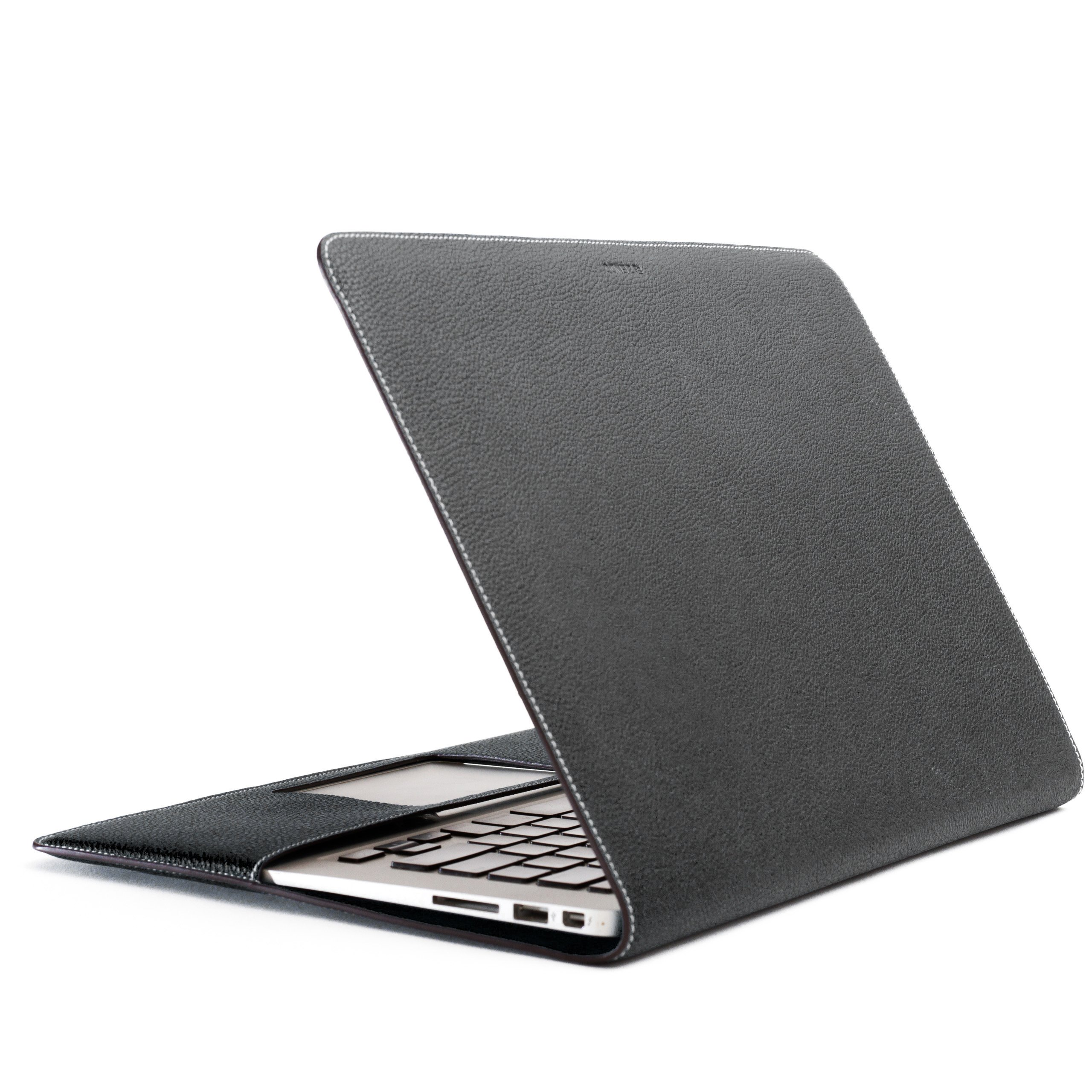 ZENDO MacBook Air 13'' Leather Cover (Full-Grain Shrunken Calf Leather)   PRIMO Luxury Full-Grain Leather [MacBook Air 13''   BLACK]