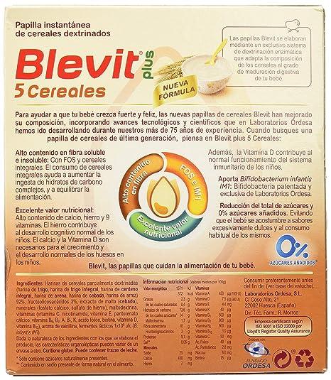 Blevit Plus 5 Cereales para bebé - 2 de 300 gr. (Total 600 gr ...