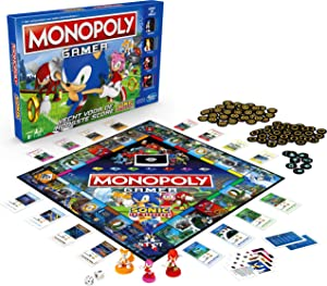 Monopoly Gamer Sonic The Hedgehog Edition Board Game for Kids Ages 8 & Up; Sonic Video Gamer Themed Board Game