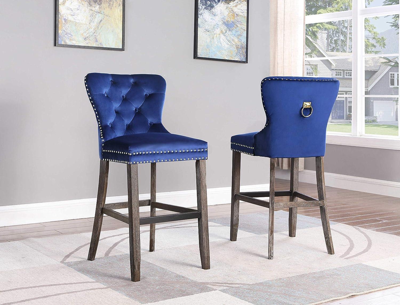 Best Quality Furniture Velvet Barstool (Set of 2) Navy Blue