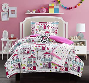 Chic Home Kid's City 5 Piece Comforter Set Quaint Town Theme Youth Design Bedding-Throw Blanket Decorative Pillow Shams Included, Full