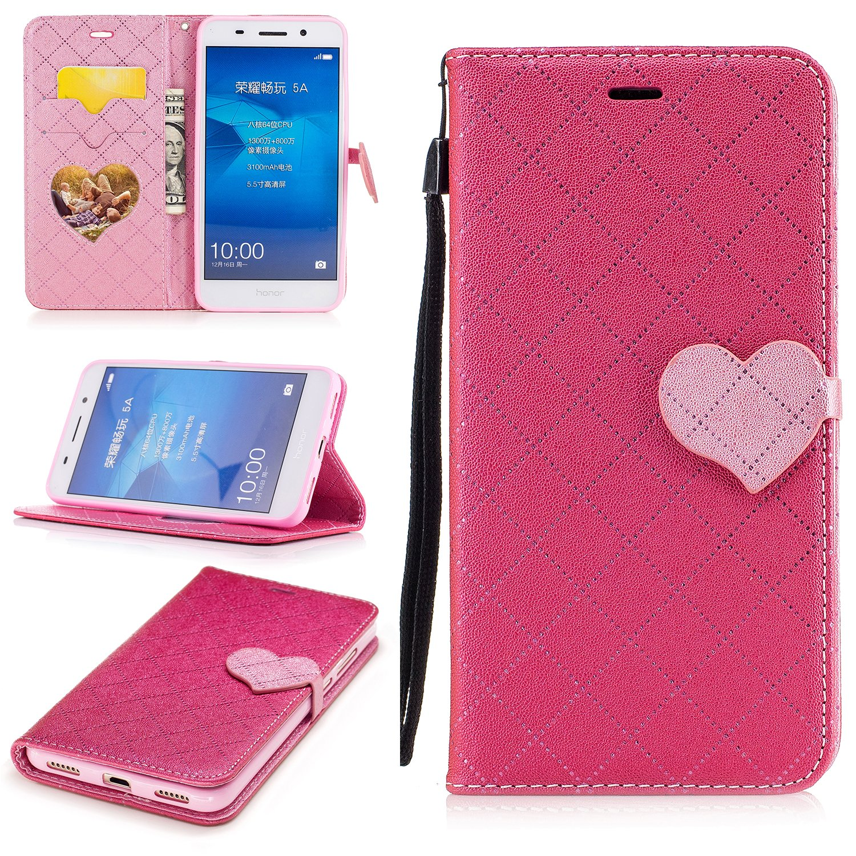 Para Huawei Y6 II / Huawei Y6 2 funda, (Amor rojo) El amor golpeó el color de cuero de la PU Leather cubierta ,Función de Soporte Billetera con Tapa para Tarjetas correa de mano soporte para teléfono Eafior