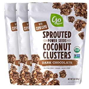 Go Raw Sprouted Seed Coconut Clusters Superfood, Dark Chocolate 9 Ounce (Pack of 3)