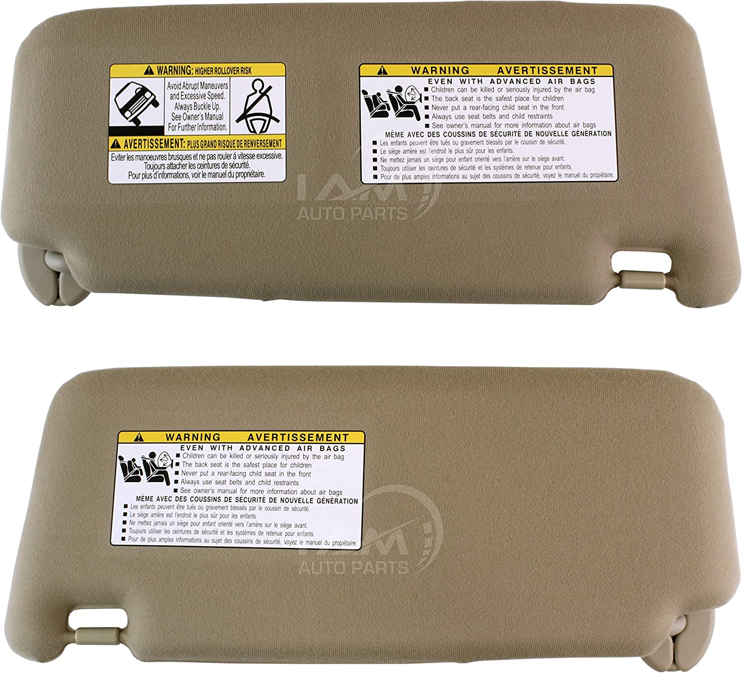 IAMAUTO 39033 Left Driver and Right Passenger Side Ivory//Beige//Tan Sun Visor for Toyota Venza Pair 2009 2010 2011 2012 2013 2014 2015 2016