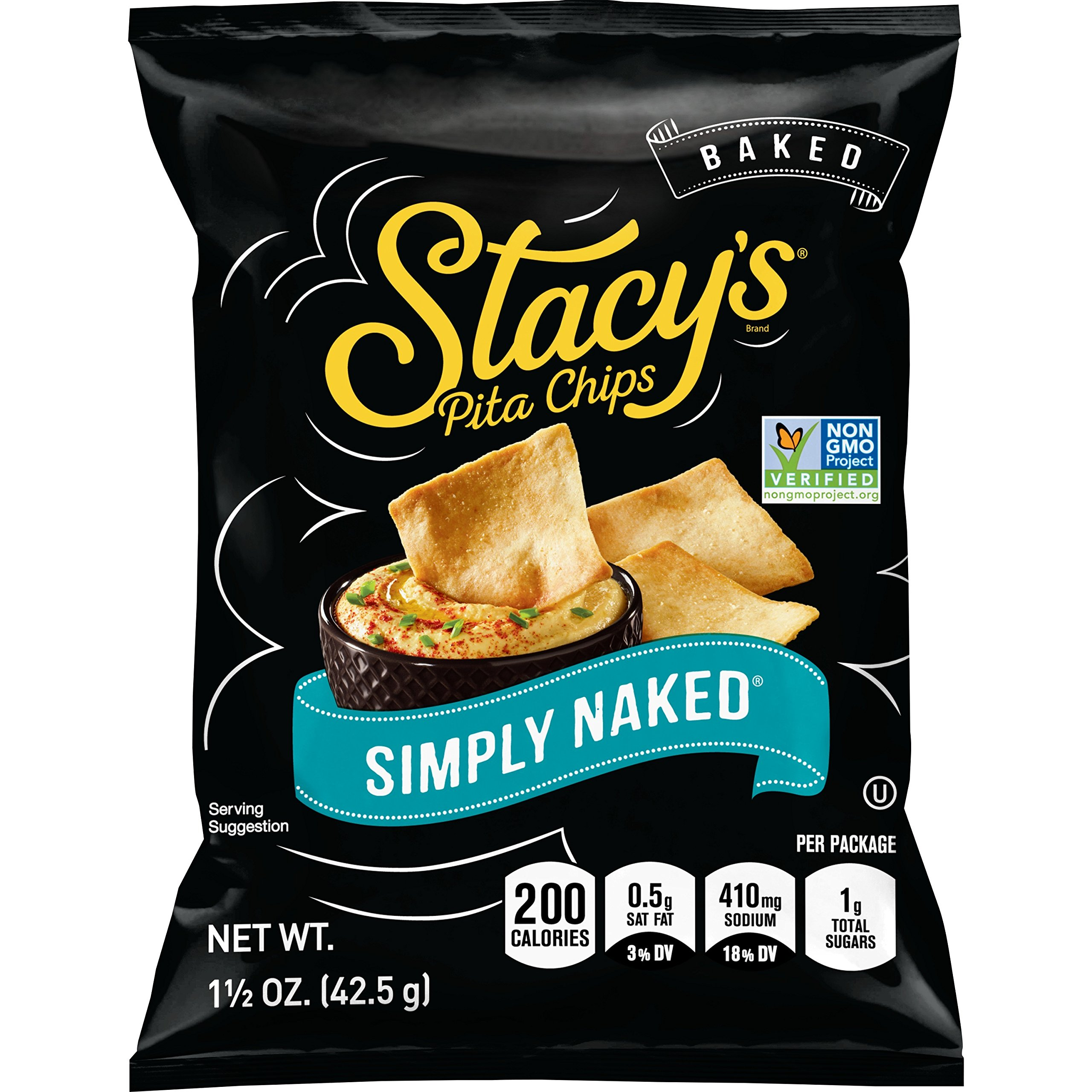 Stacy's Simply Naked Pita Chips, 1.5 Ounce Bags (Pack of 24)