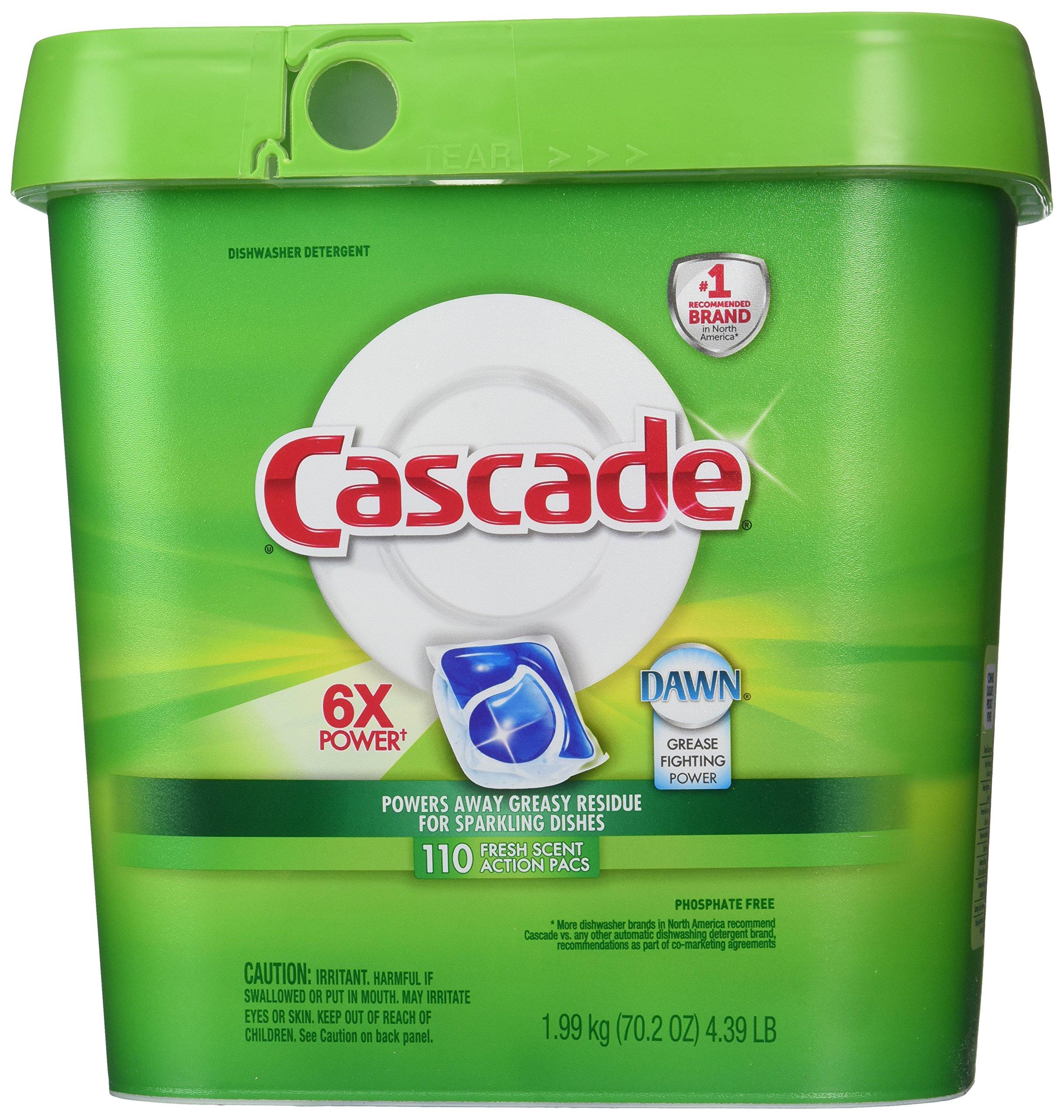 Cascade Actionpacs Dishwasher Detergent, Fresh Scent, (2 Packs of 110)